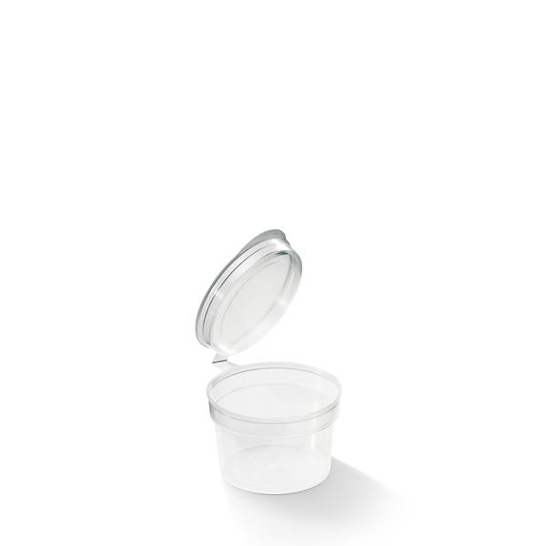 Plastic cupje met vaste deksel transparant