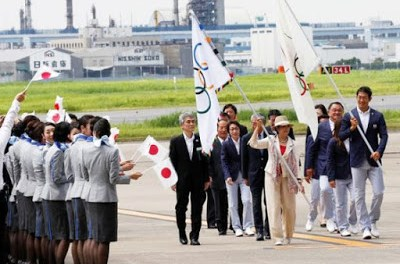 Olympic flag arrives Japan from Brazil