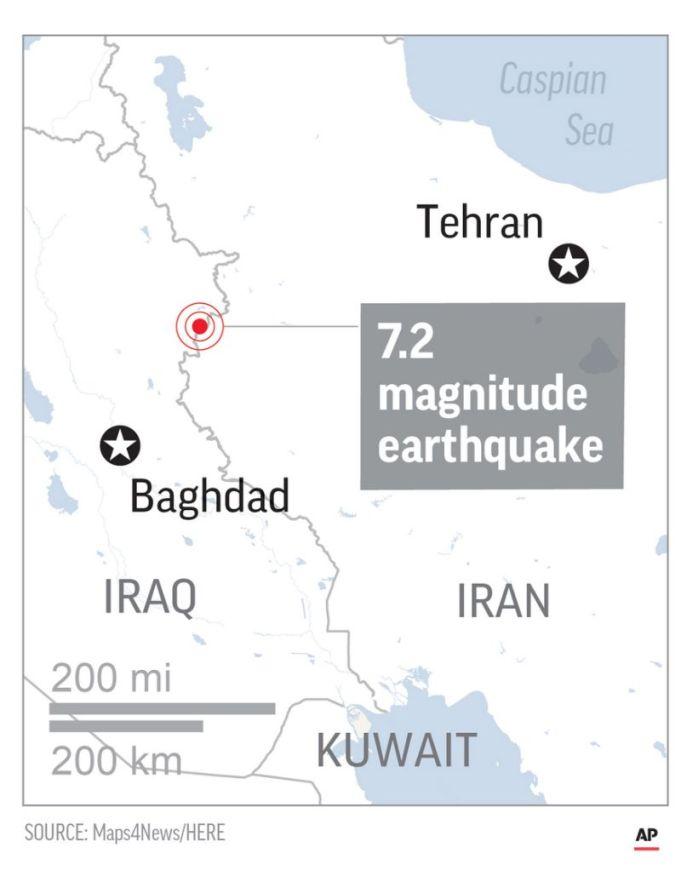 7.2 magnitude earthquake jolts Iran-Iraq border area