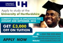 Get 3000 pounds off tuition fee at University of Hertfordshire... Apply now