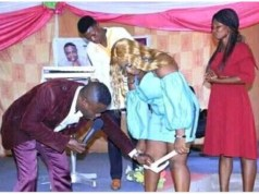 Photo of a 'Zambian prophet' removing a lady's underwear in church goes viral