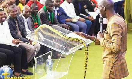 South African pastor who fed grass to worshippers, brings live snake to church