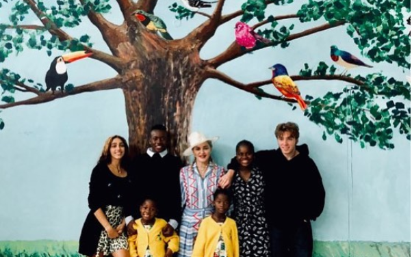Madonna pictured with her 6 children as they visit Malawi (Photos)