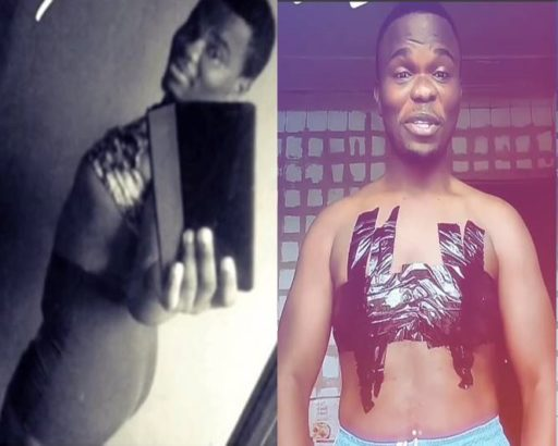 Nigerian man with boobs finally finds a way to hide them from public