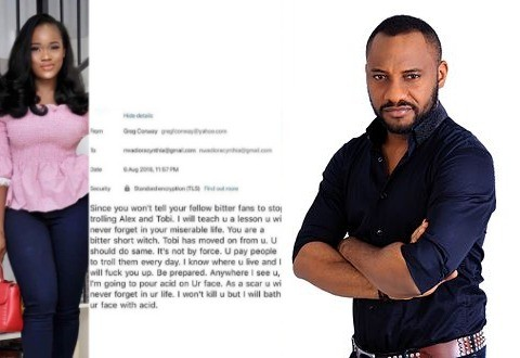 """Channel your pain to our corrupt leaders who have made you all jobless"" Yul Edochie reacts to acid bath threat reality star, Cee c received from a non-fan"