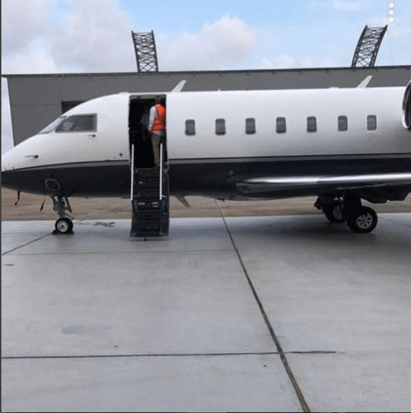 Photo of Davido's private jet after it landed in Nigeria today