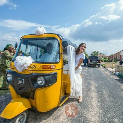 Nigerian man and his American bride wed with tricycle (photos)