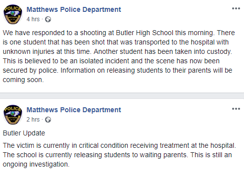 High school student shot at North Carolina school by another student dies at hospital; suspect is in custody