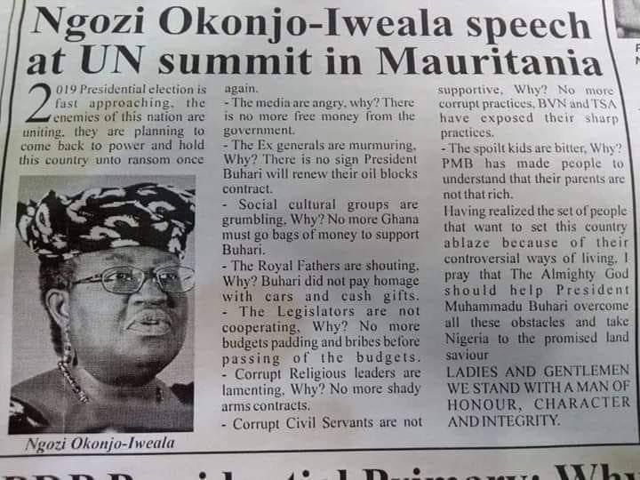 Okonjo-Iweala speaks on her purported support for Buhari against Atiku