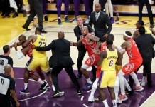 LeBron James' home debut game is marred by fights as players throw punches in LA Lakers vs Houston Rockets game
