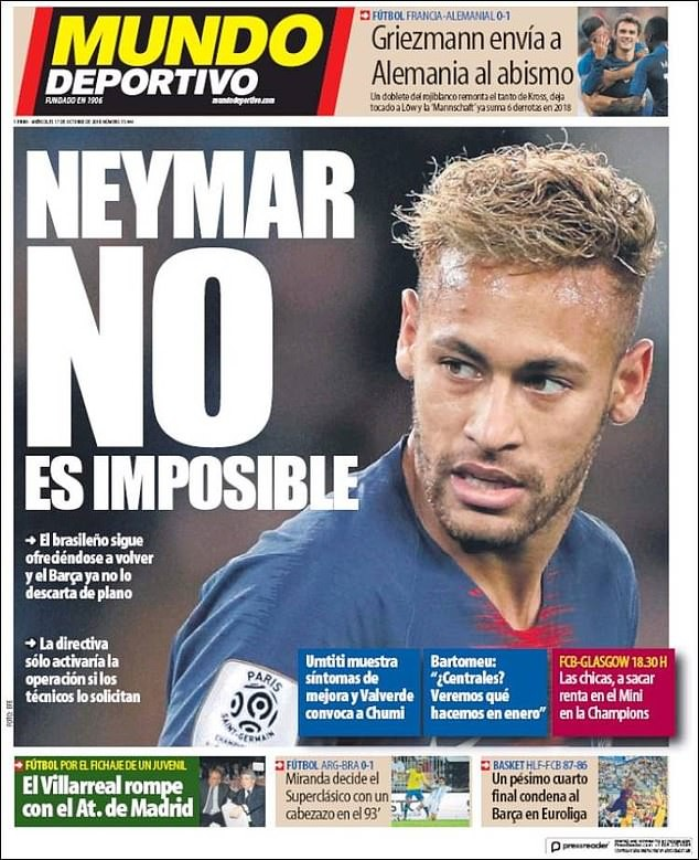 Neymar 'offers to return to Barcelona' a year after moving to France in a £200m deal