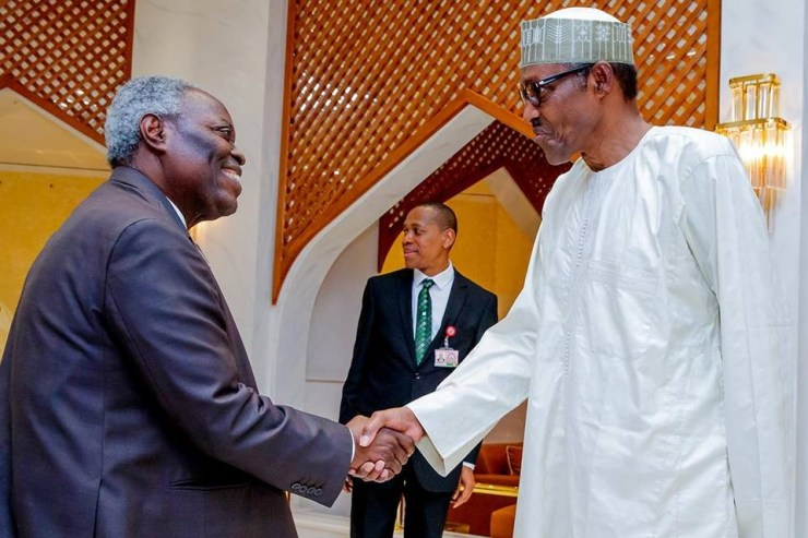 Pastor Kumuyi and his wife meets President Buhari at the state house