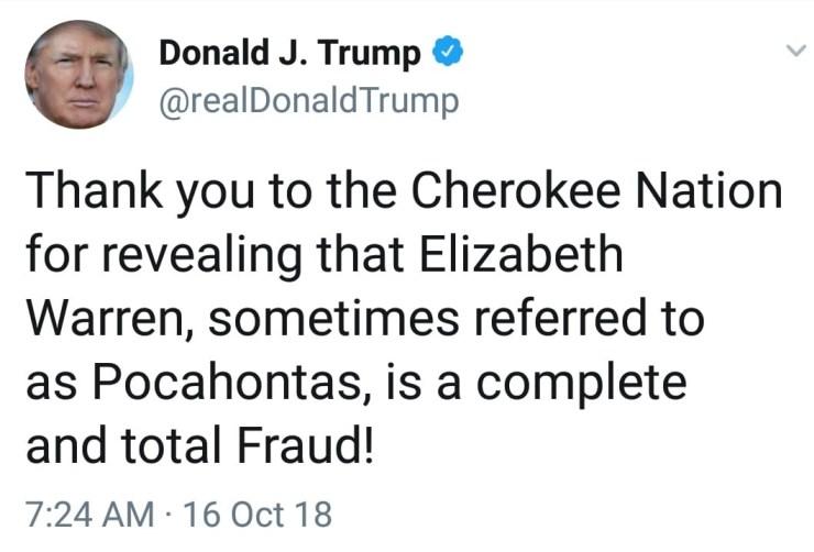 Trump trolls Elizabeth Warren on Twitter after she released her Native-American DNA result
