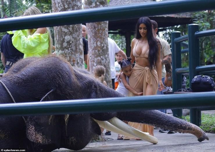 Photos of Bikini-clad Kim Kardashian and Kourtney riding an elephant in Bali