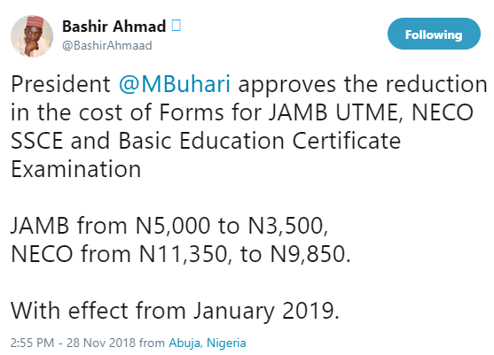 Buhari approves the reduction of the cost of Forms for JAMB UTME, NECO SSCE