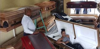 Zodwa Wabantu in coffin