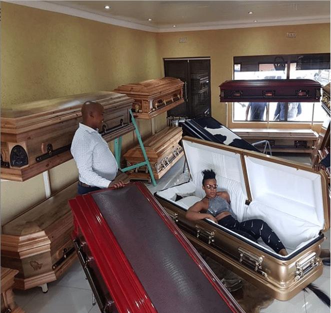 South African 'pantless dancer' Zodwa Wabantu shares photo of herself posing inside a Coffin