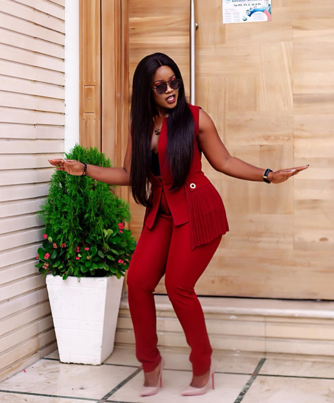 Cee-C sends fans into meltdown as she poses in red corporate outfit (Photos)