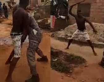 Man fights PHCN official with machete over light disconnection in Lagos (Watch Video)
