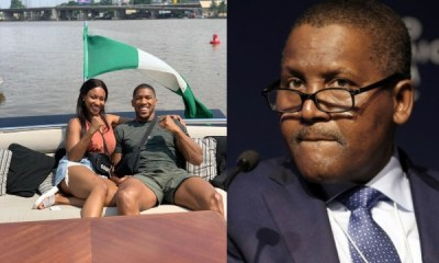 Anthony Joshua and his sister hosted by Dangote