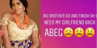 BBNaija 2019: I need my girlfriend back' - Tacha's boyfriend