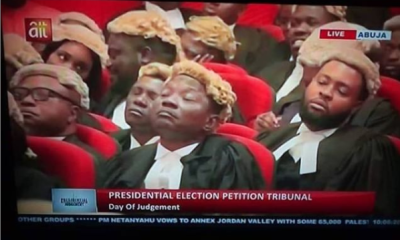 Viral photo of lawyers sleeping at the Presidential tribunal