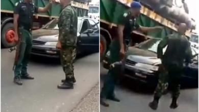 Video of soldier and mobile police officer fighting over superiority