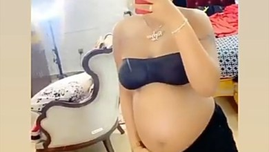 Regina Daniels bare baby bump photos