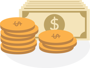 an image of paper and coin money