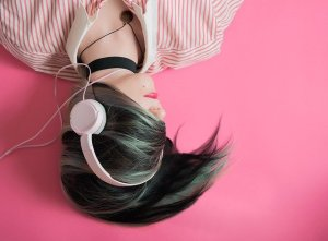 a girl with headphones