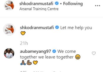 Pierre-Emerick Aubameyang responds to Shkodran Mustafi's Instagram post