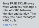 Airtel Free Weekly 250MB Data Bundle