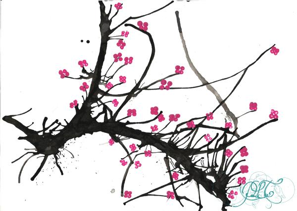 Prendre le temps - Voyageons Ludique - Asie - Cerisier japonais à l'encre de chine et peinture - Japon - 05