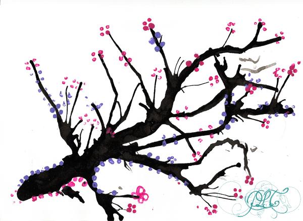 Prendre le temps - Voyageons Ludique - Asie - Cerisier japonais à l'encre de chine et peinture - Japon - 04