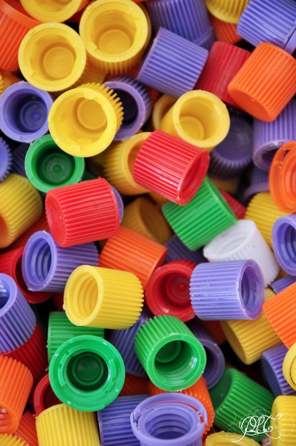 Prendre le temps - Tableau coloré en bouchons de compote - Bouchons de compote