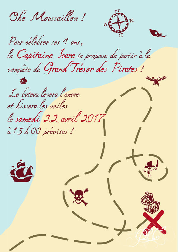 Prendre le temps - Anniversaire Pirate - Invitation