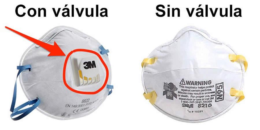 COVID respiradores con valvula sin valvula