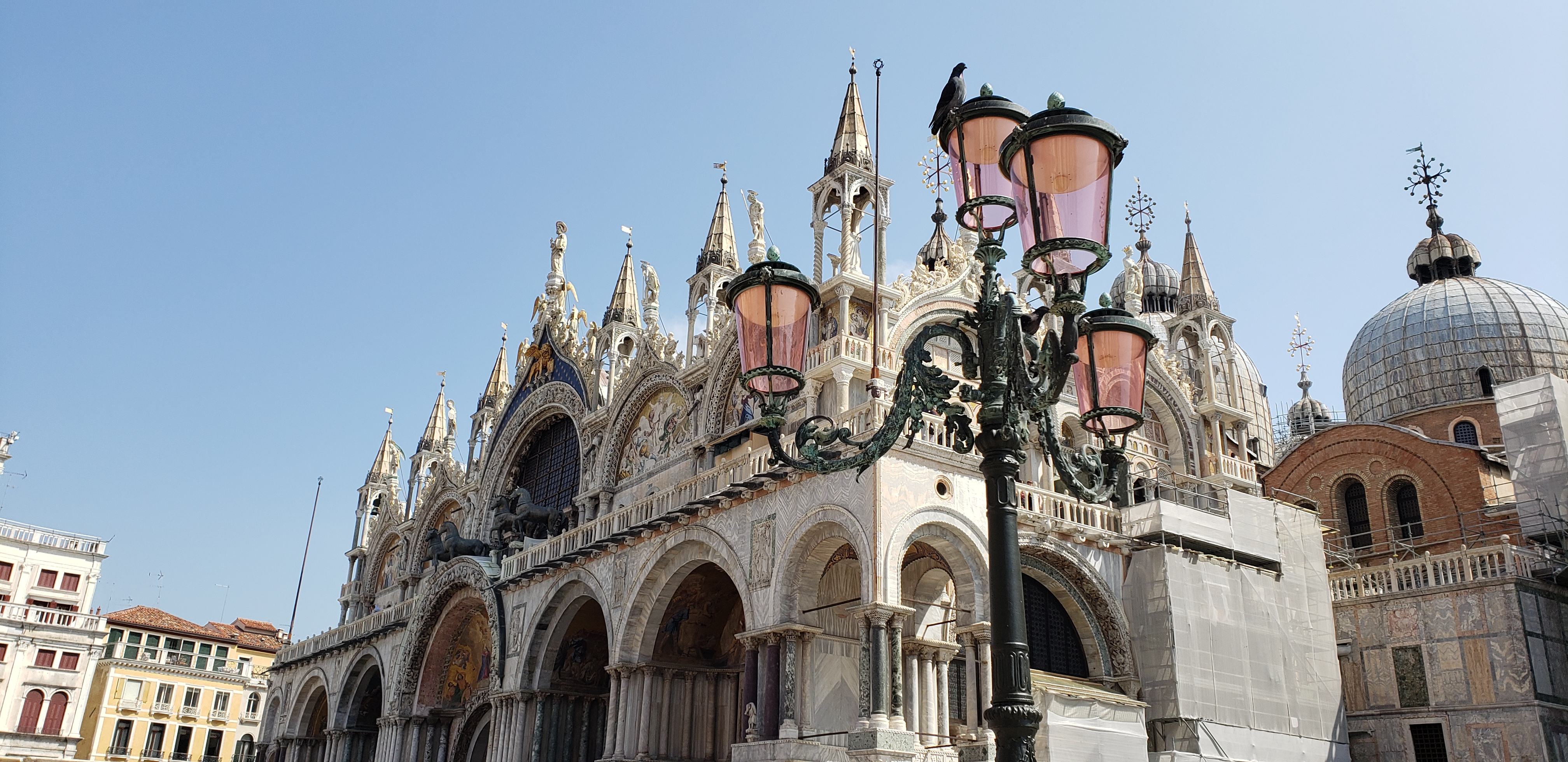 Venetian street lights with St Mark's Basilica in the background