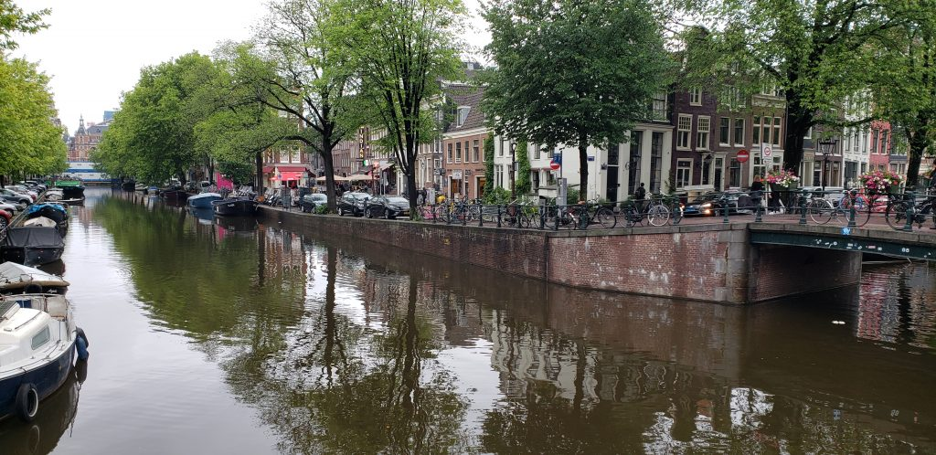 View down a canal in Amsterdam