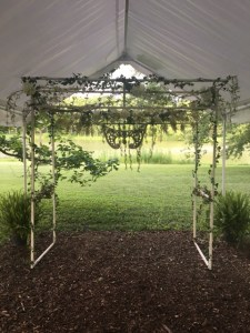 Farmington Lake rain tent white arbor