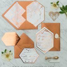Copper wedding invitations