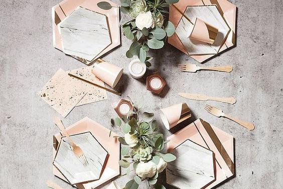 Copper reception tablescape