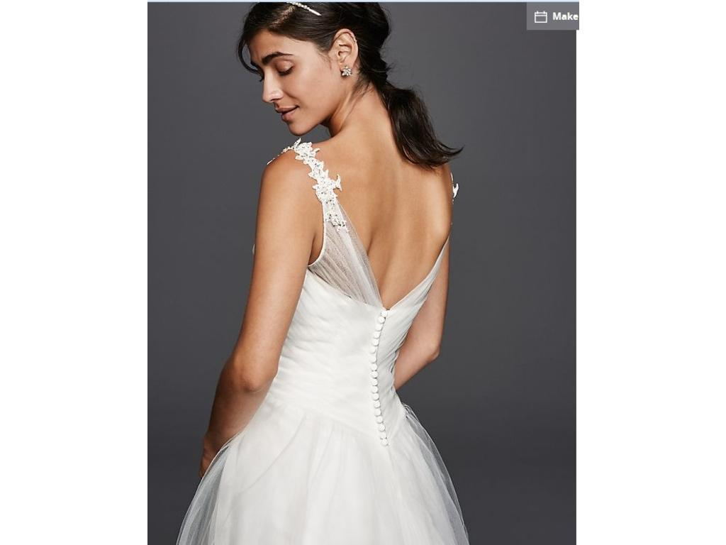David's Bridal Tulle Ball Gown Wedding Dress With Illusion