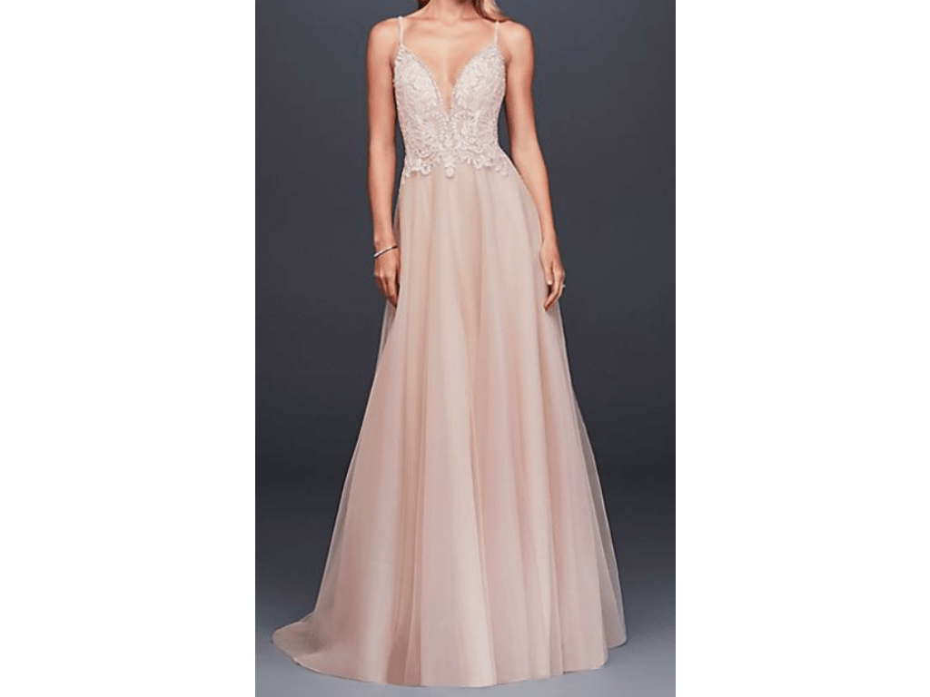 David's Bridal Sheer Beaded Bodice Organza A-Line Gown
