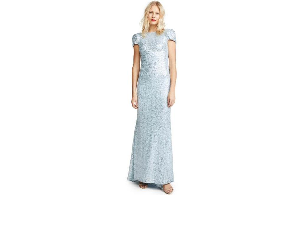 Badgley Mischka Sequin Cowl Neck Bridesmaid Dress