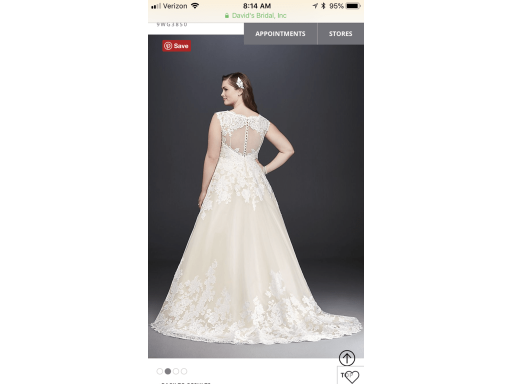 David's Bridal Scalloped Lace And Tulle Plus Size Wedding