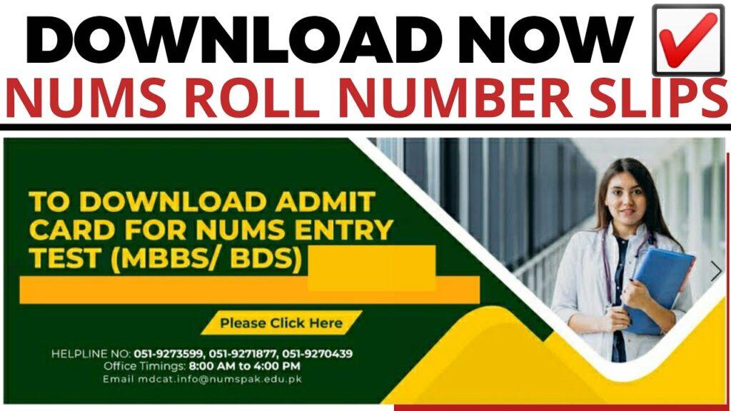 NUMS Roll No Slip 2021 Online Download [PDF]