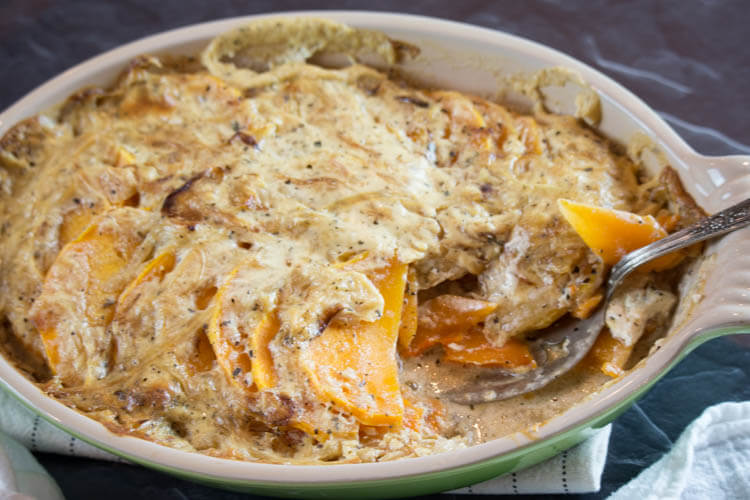 Scalloped Butternut Squash with Caramelized Onions