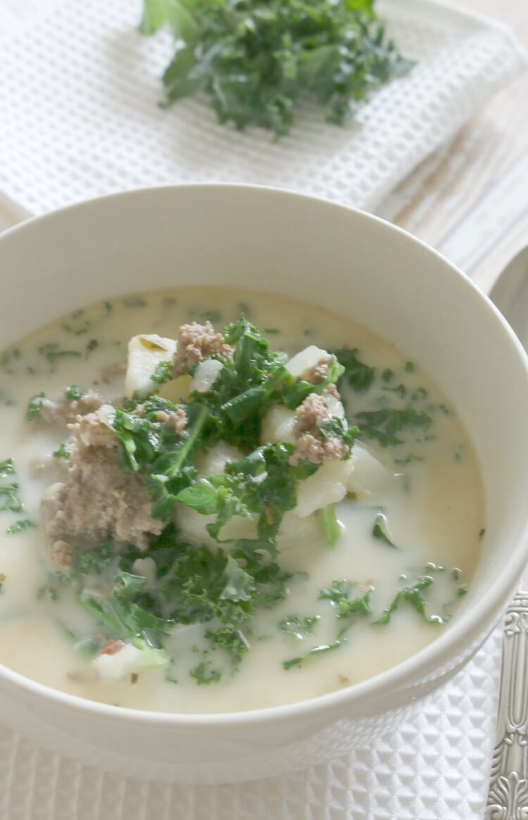 Pressure Cooker Ground Beef and Kale Soup - with 4 minutes cooking time, this soup makes a quick and easy dinner and full of nutrition. Hearty and loaded with potatoes, ground beef, and nutritious kale.