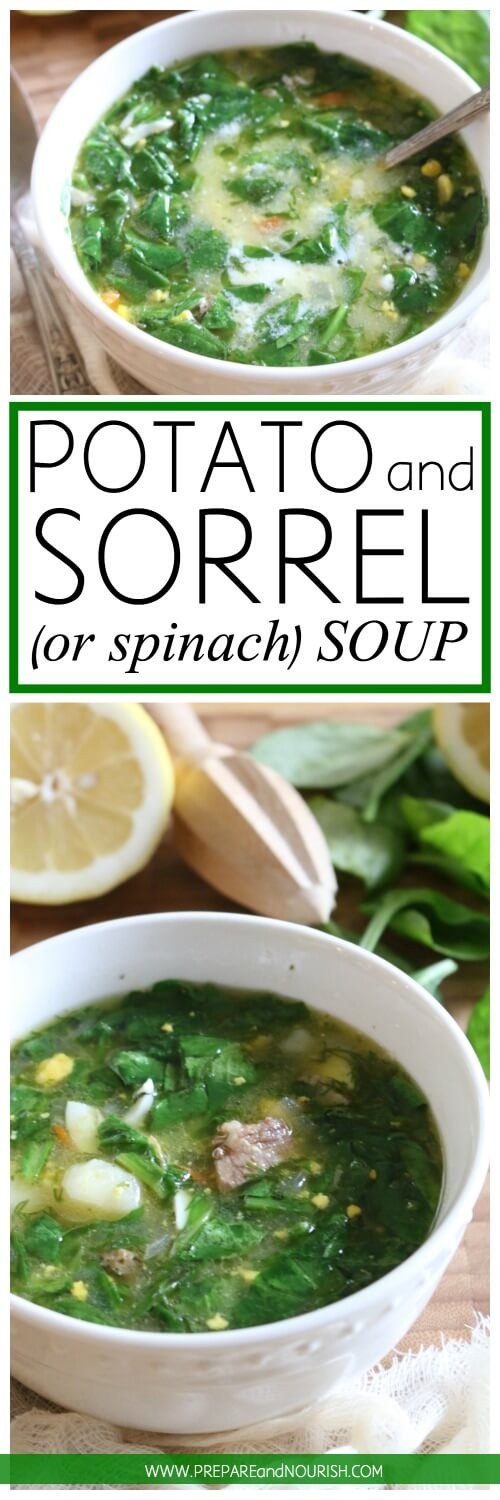 Potato and Sorrel Soup (or use spinach) - high in protein and full of flavor, this 30 minute soup is loaded with pastured eggs, meat and your favorite greens.